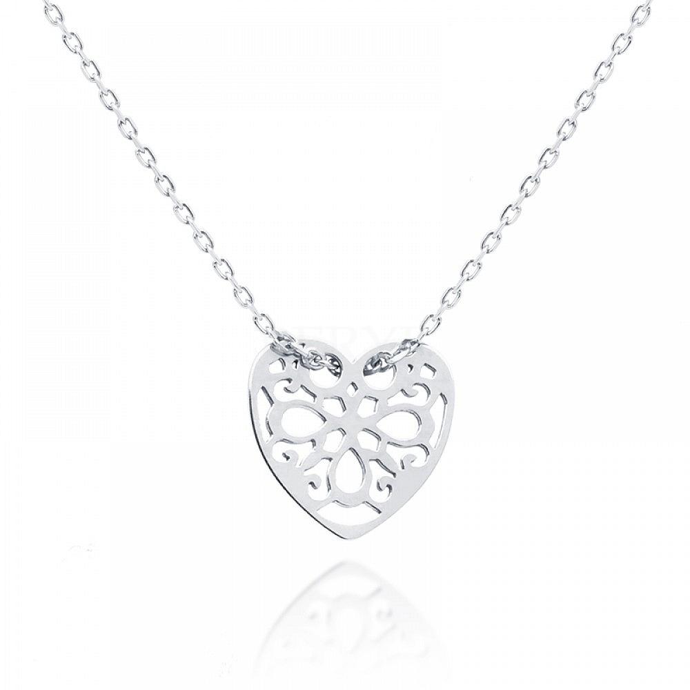 Naszyjnik celebrytka ażurowe serce srebrna
