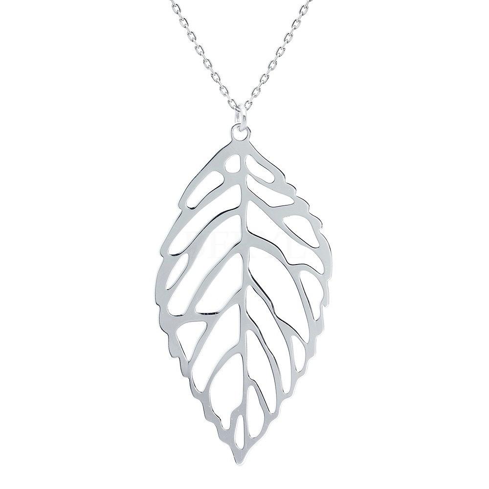Naszyjnik srebrny z dużym liściem