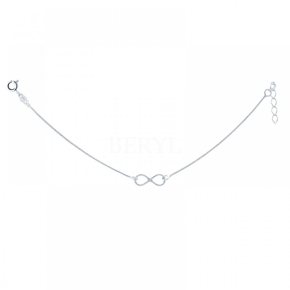 Bransoletka celebrytka srebrna nieskończoność, łańcuszek linka regulowany