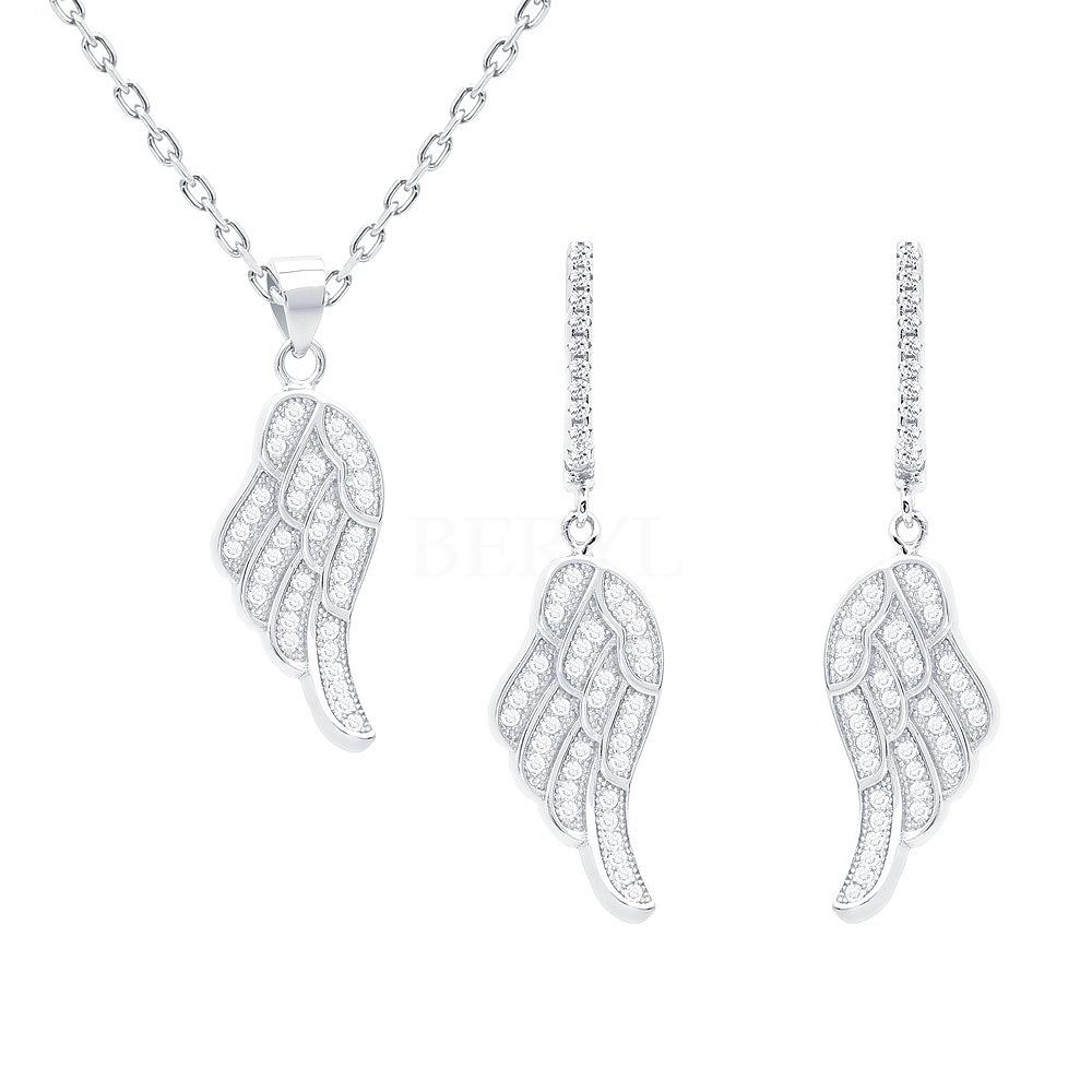 Komplet srebrny skrzydła z cyrkonią - kolczyki z zawieszką