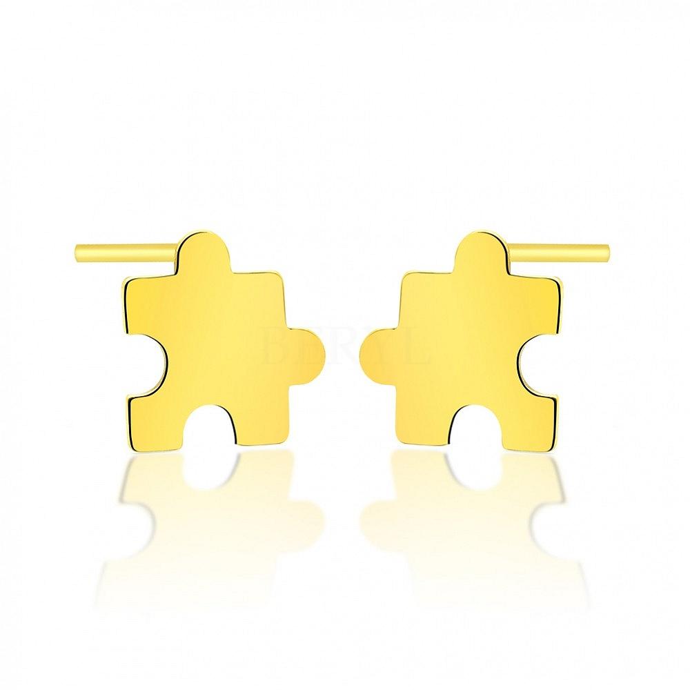 Kolczyki celebrytki srebrne pozłacane puzzle