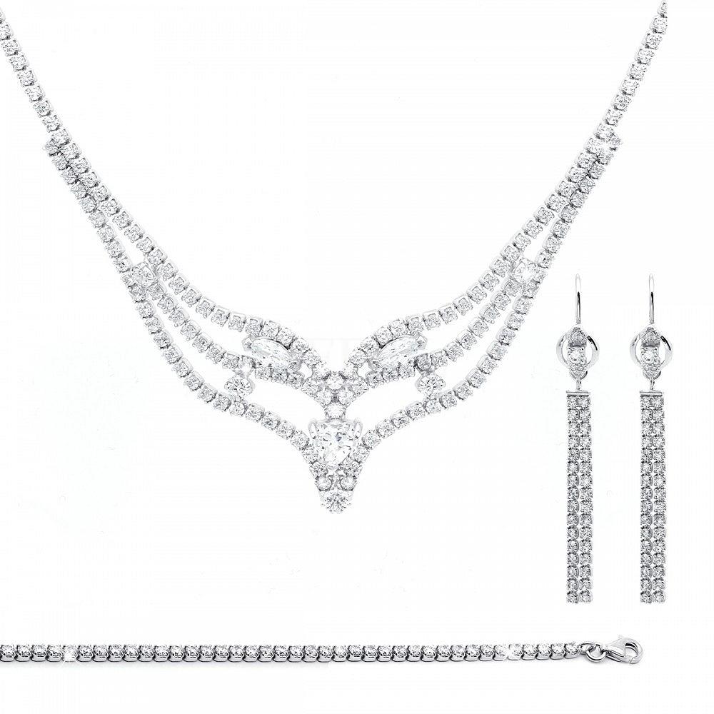 Komplet srebrny ślubny z cyrkonią - kolia z kolczykami i bransoletką