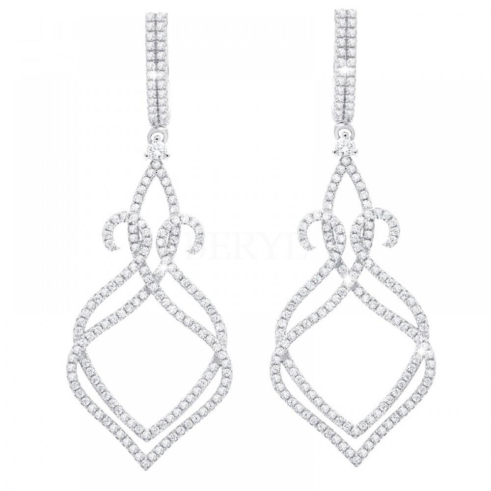 Kolczyki ślubne srebrne wiszące z białymi cyrkoniami