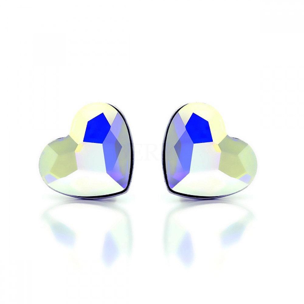 Kolczyki srebrne serca błyszczące kryształki wkrętki
