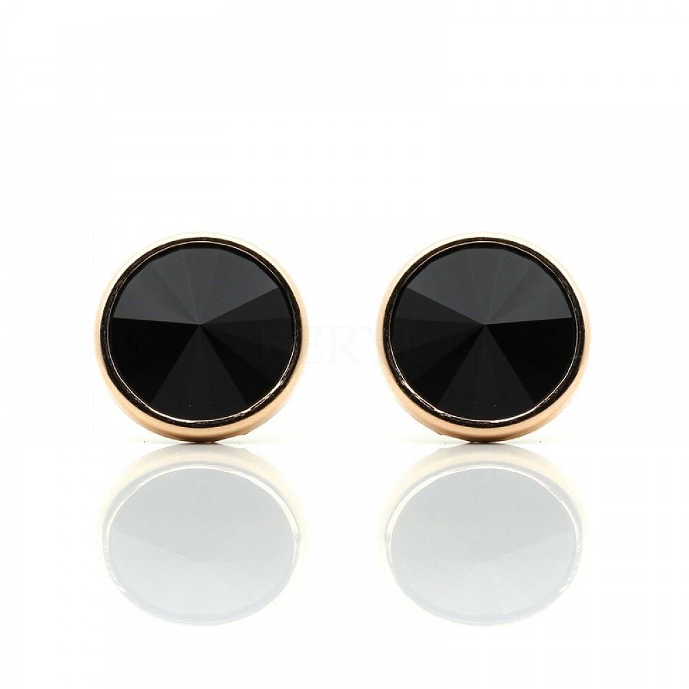Kolczyki srebrne pozłacane czarne kryształki wkrętki 10 mm