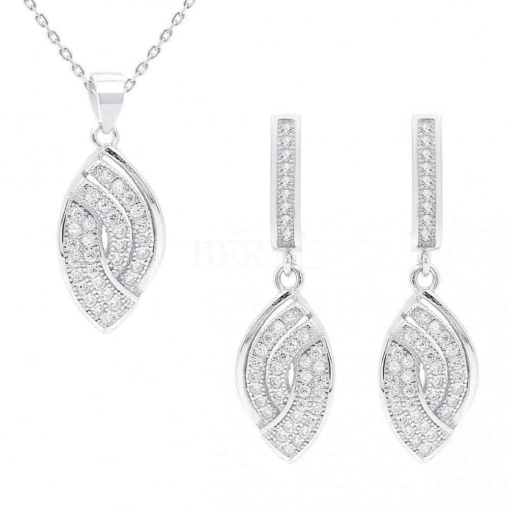 Komplet srebrny z cyrkonią elegancki - kolczyki i zawieszka