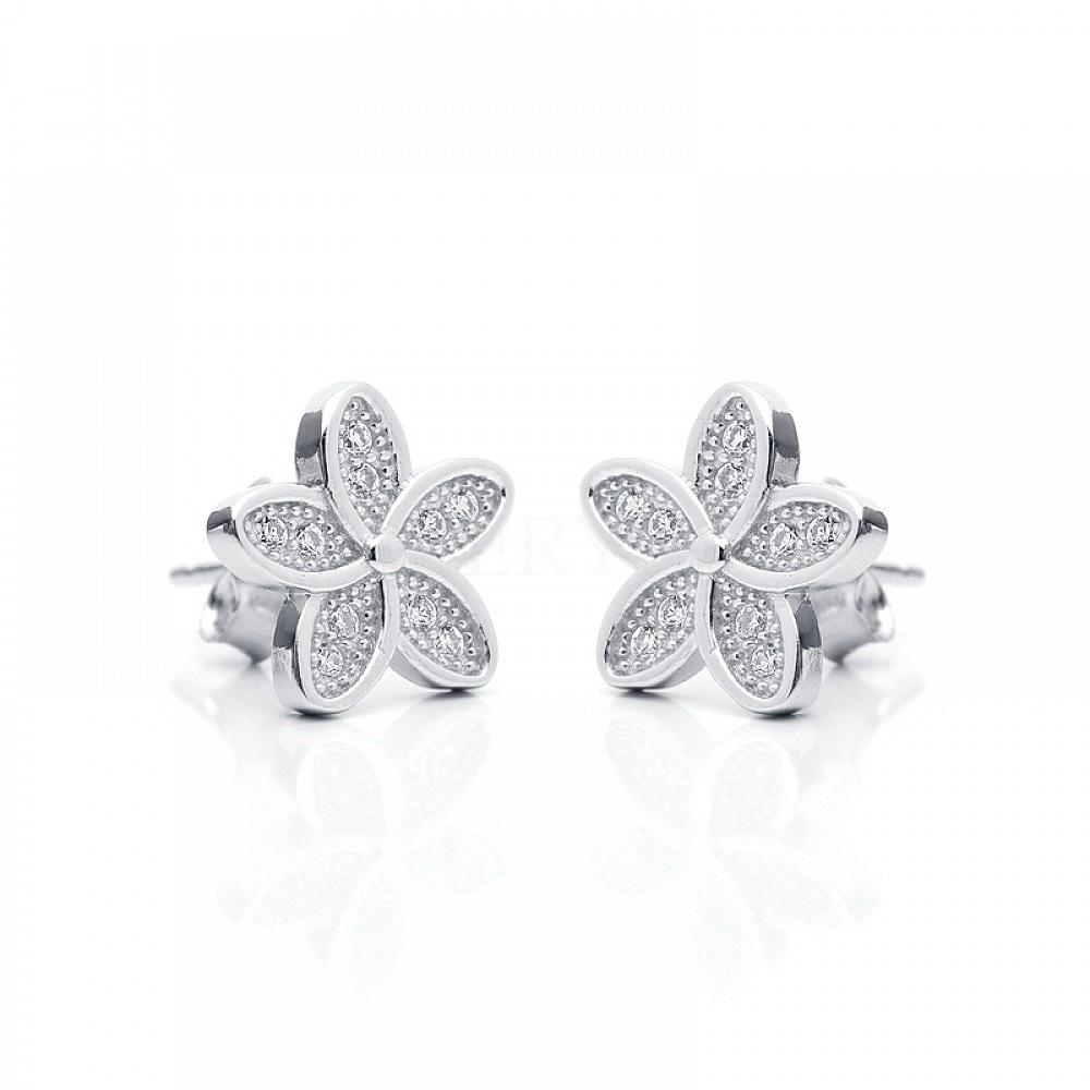 Kolczyki kwiatuszki srebrne z cyrkonią wkrętka