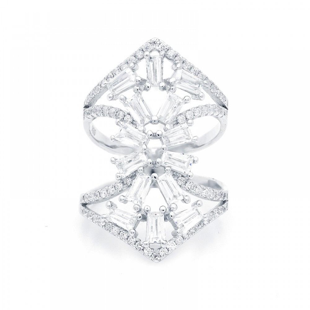 Pierścionek srebrny z białymi cyrkoniami geometryczny szeroki