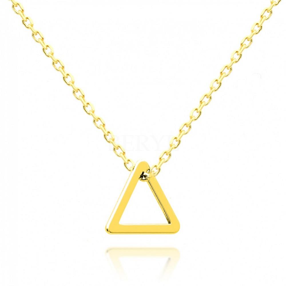 Naszyjnik celebrytka geometryczna srebrna pozłacana - trójkąt