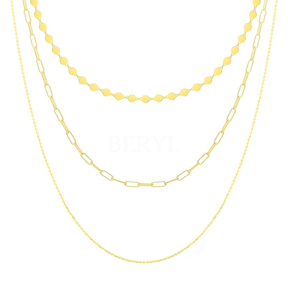 Naszyjnik łańcuch srebrny pozłacany potrójny długi błyszczący