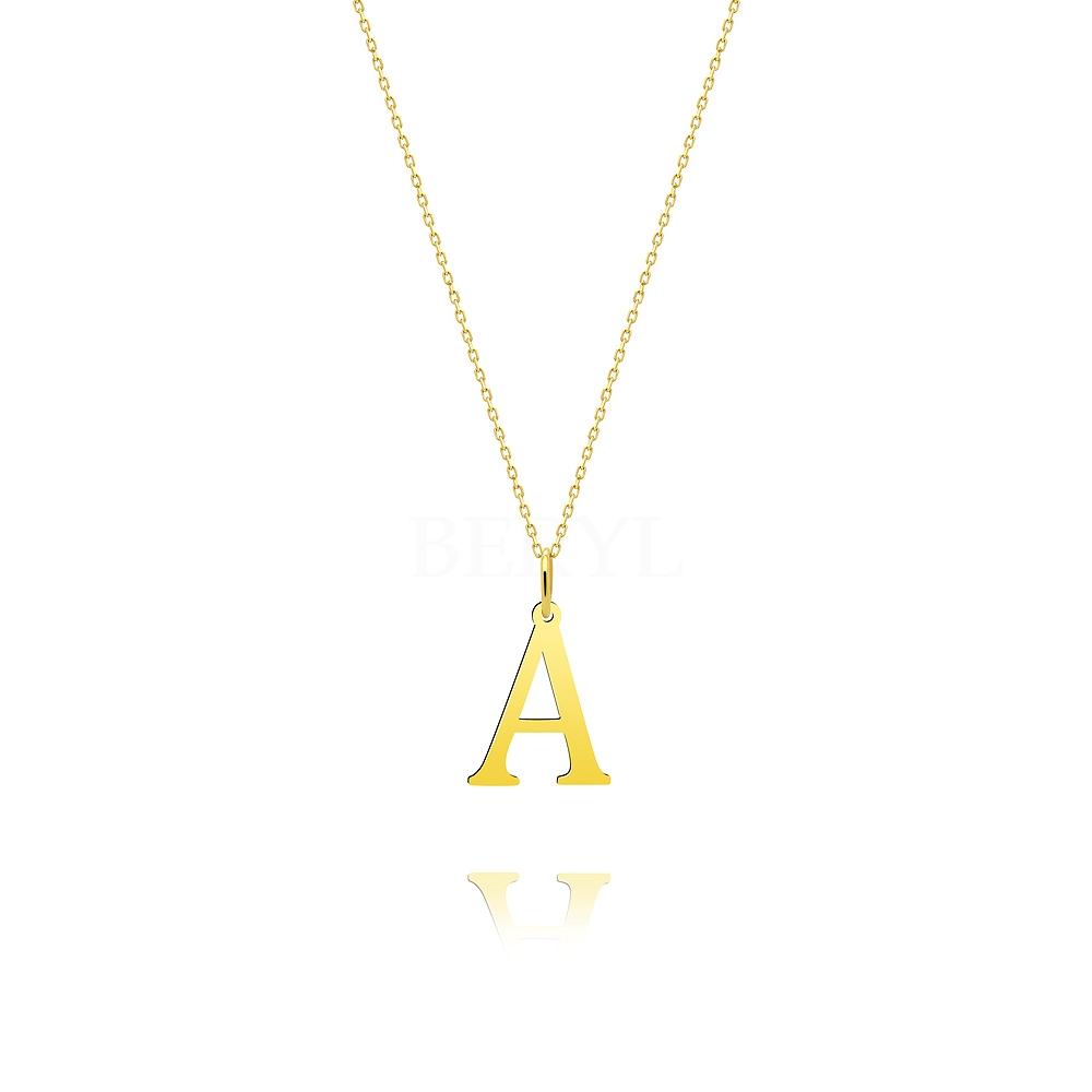 Naszyjnik złoty z literką A 2 cm