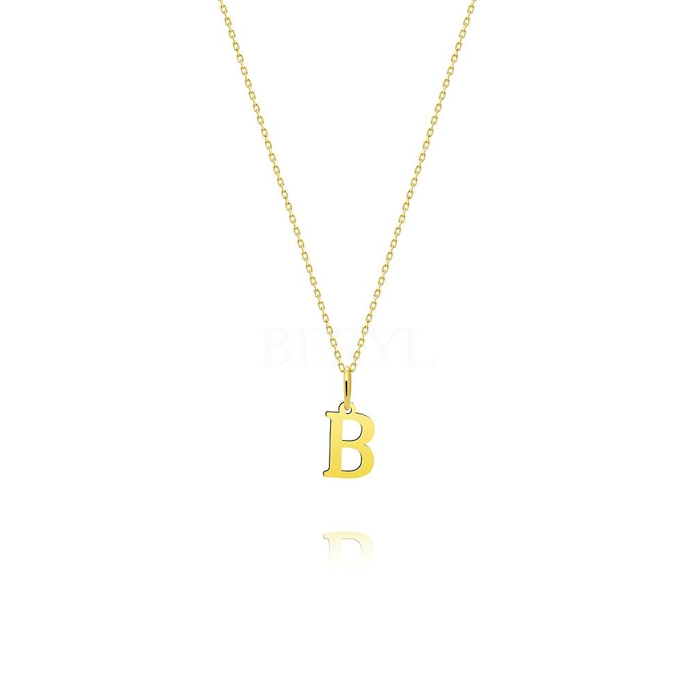 Naszyjnik złoty z literką B 1 cm