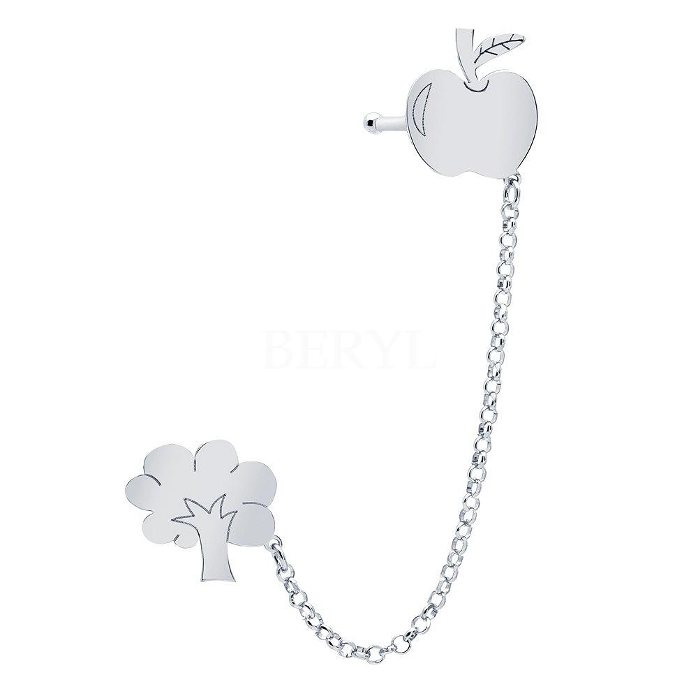 Nausznica z łańcuszkiem srebrna drzewko z jabłkiem - lewa