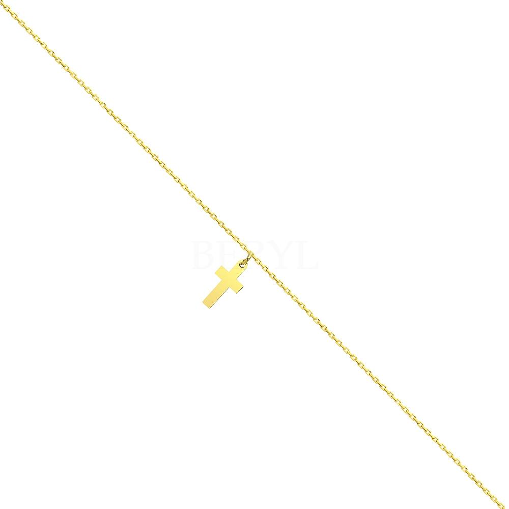 Bransoletka na nogę z krzyżykiem srebrna pozłacana