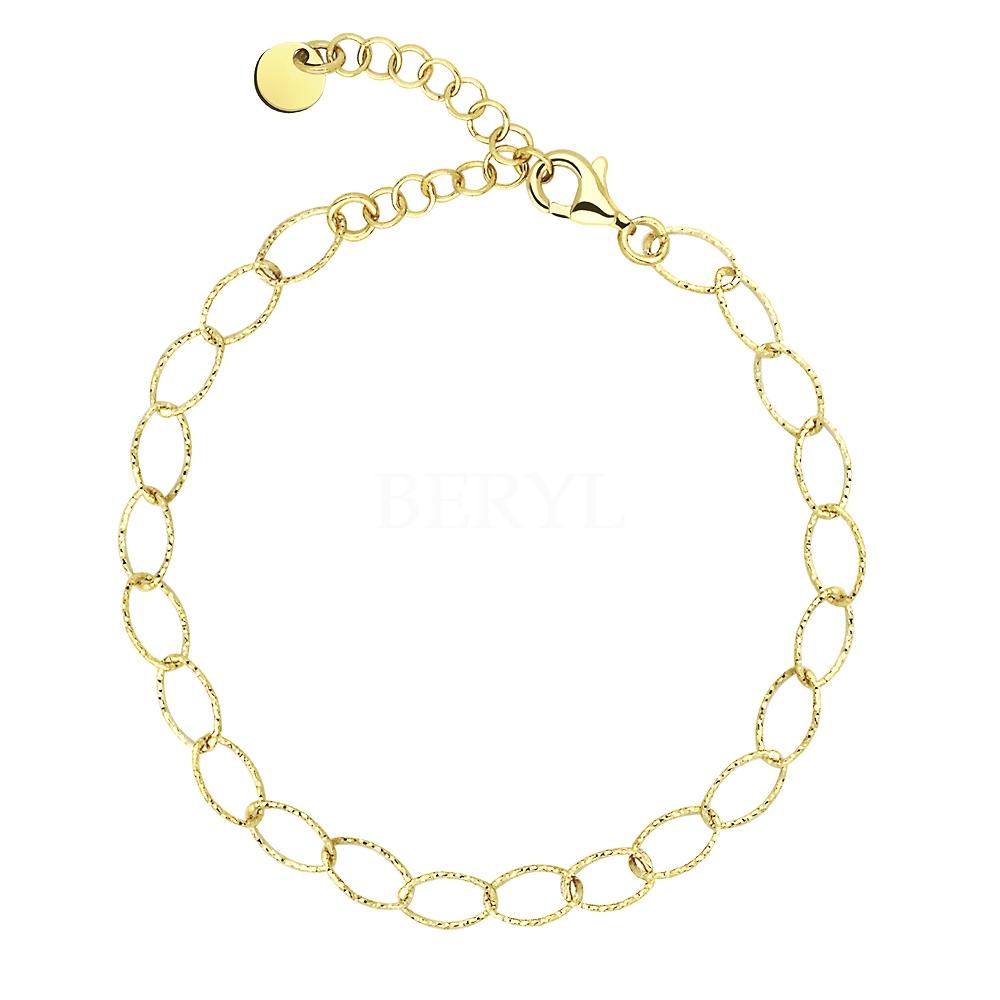 Bransoletka srebrna pozłacana delikatny łańcuszek diamentowana
