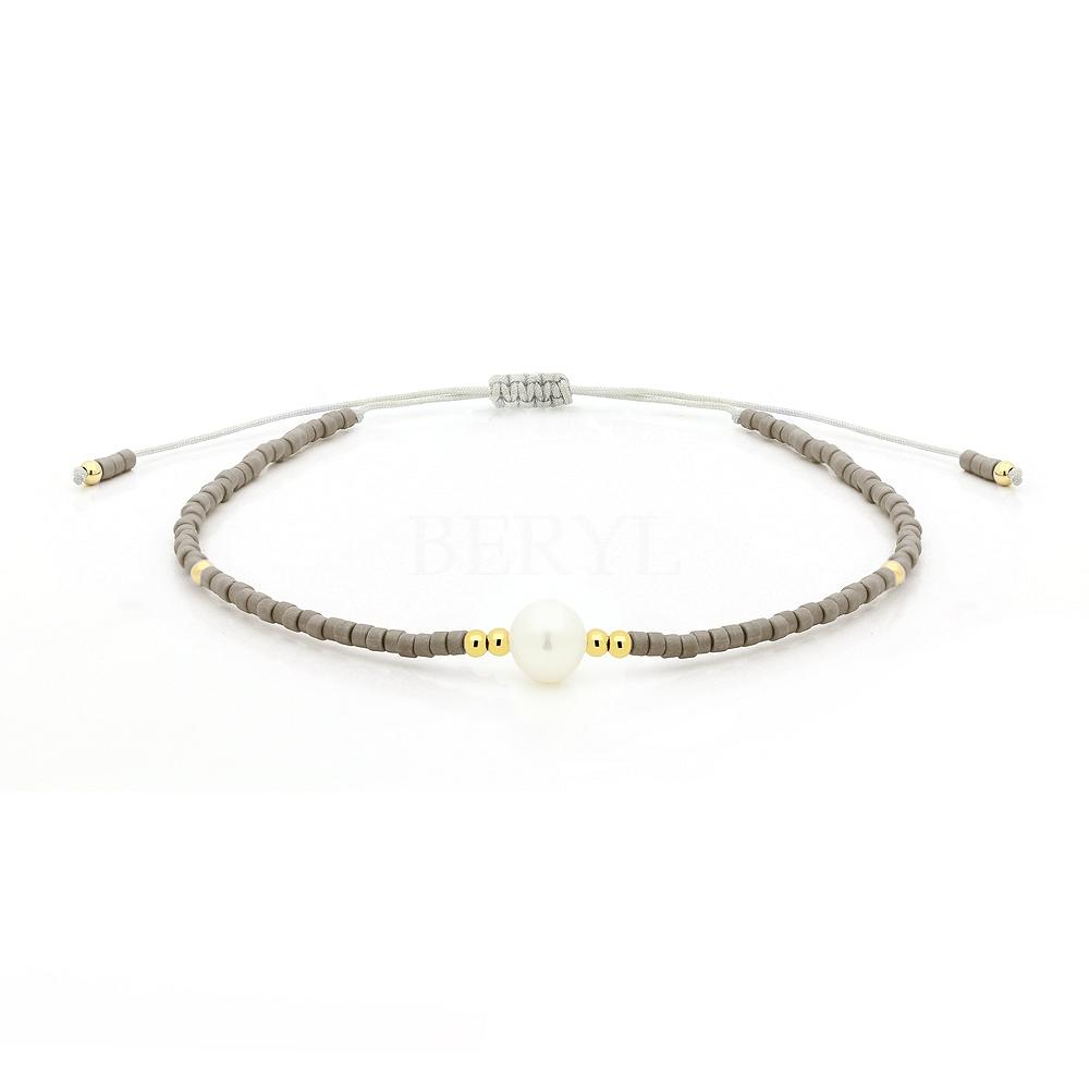 Bransoletka na sznurku srebrna pozłacana z koralikami i perłą