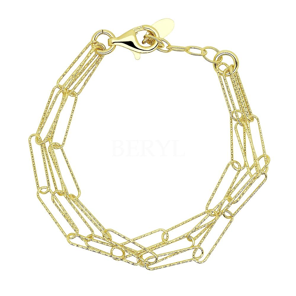 Bransoletka łańcuch potrójny srebrna pozłacana