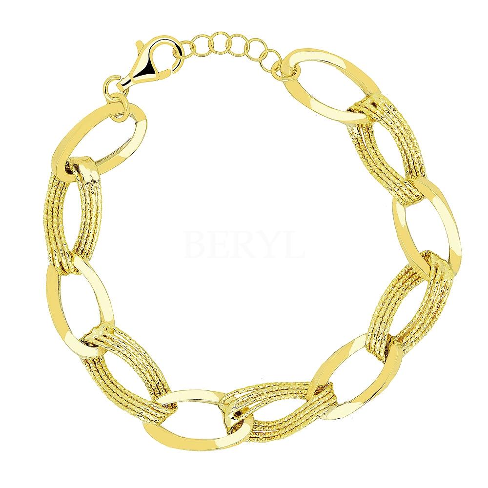 Bransoletka łańcuch srebrna pozłacana duże diamentowane ogniwa