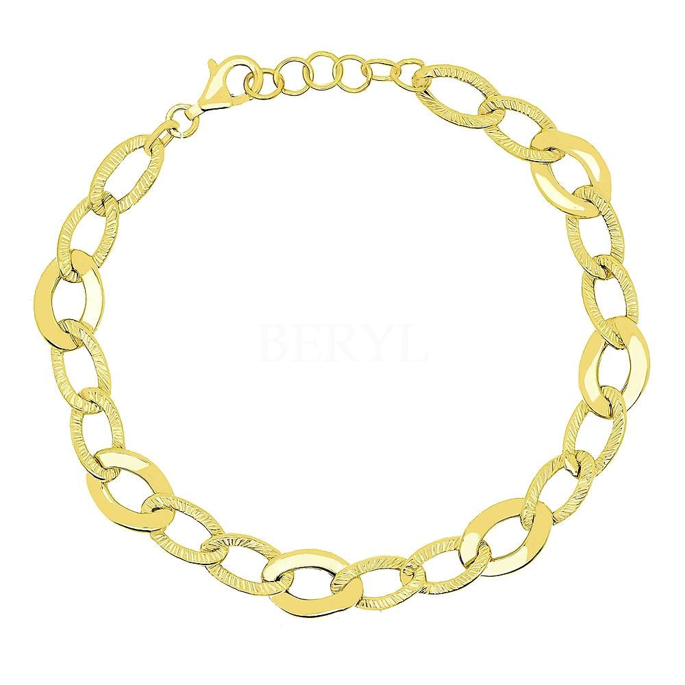 Bransoletka łańcuch srebrna pozłacana delikatne owalne ogniwa
