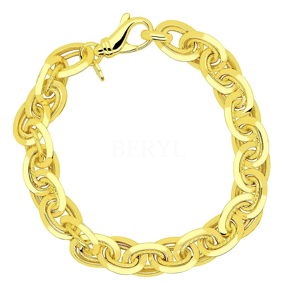 Bransoletka łańcuch srebrna pozłacana duże ogniwa