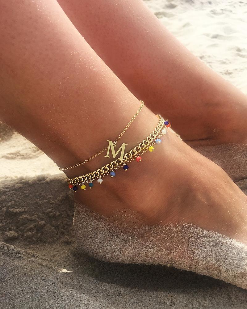 Bransoletka na nogę Literka M Srebro 925