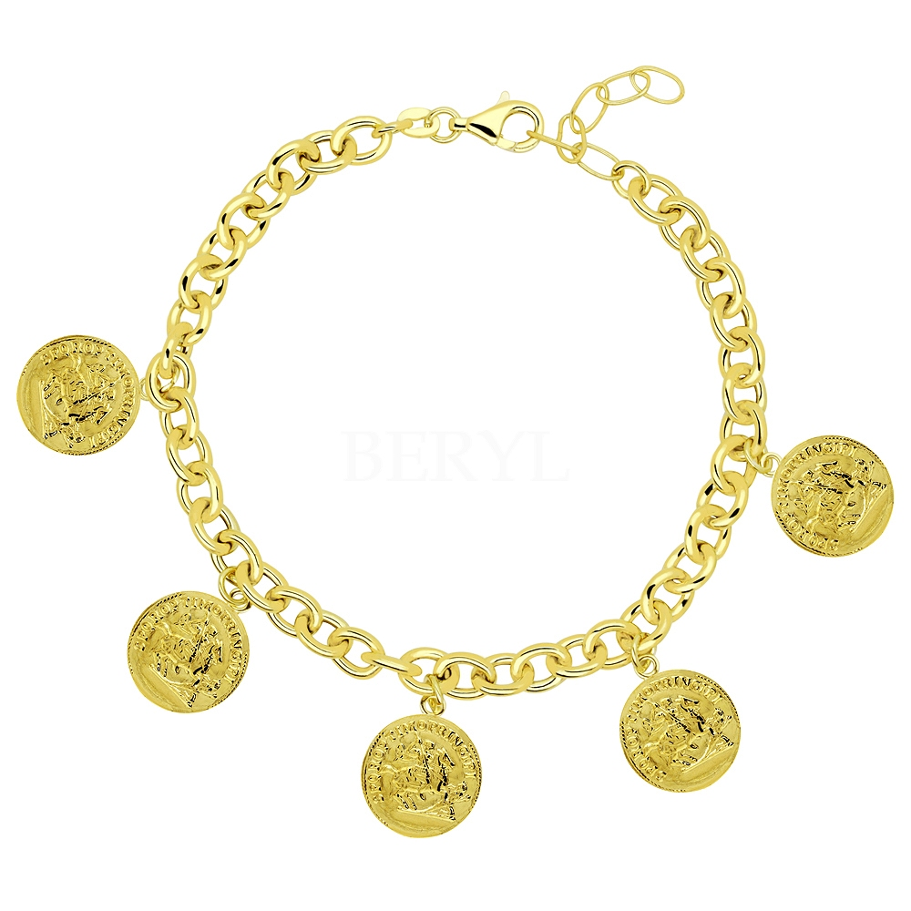 Bransoletka łańcuch srebrna pozłacana pancerka z monetami
