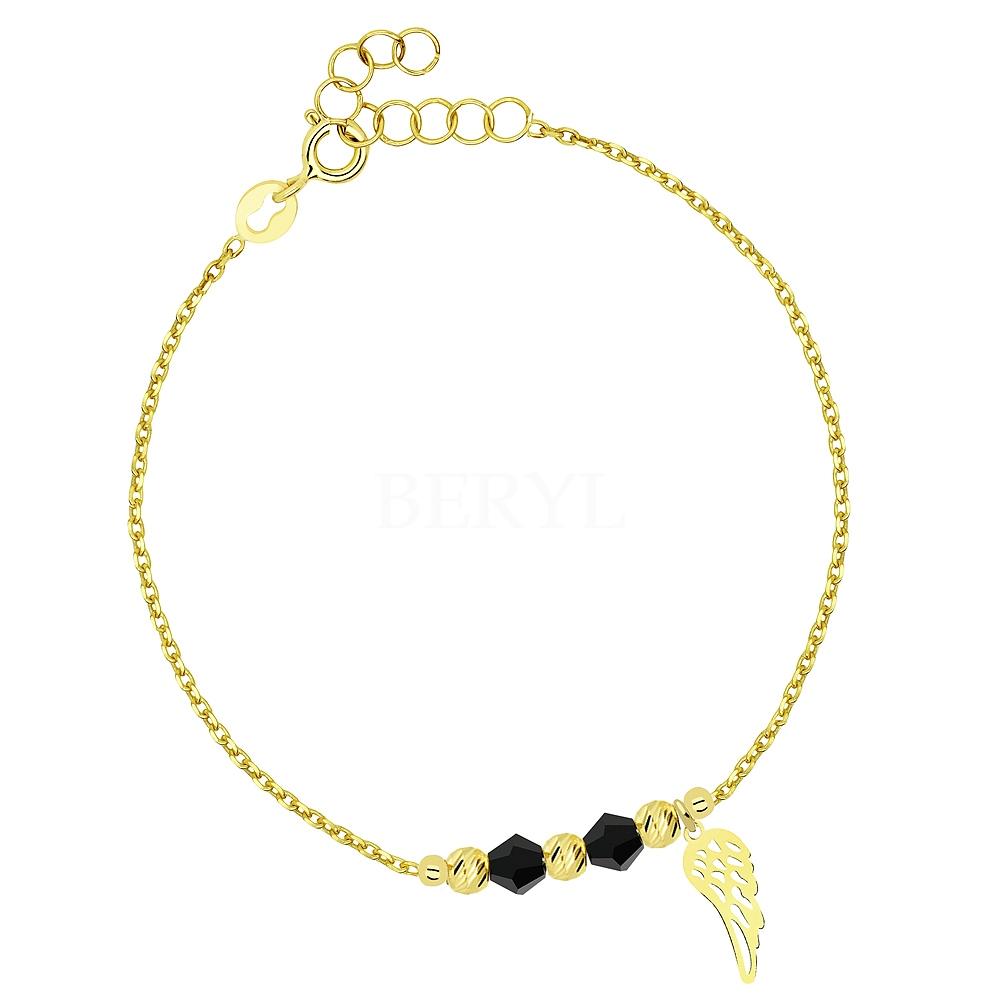 Bransoletka srebrna pozłacana ze skrzydłem i koralikami czarnymi