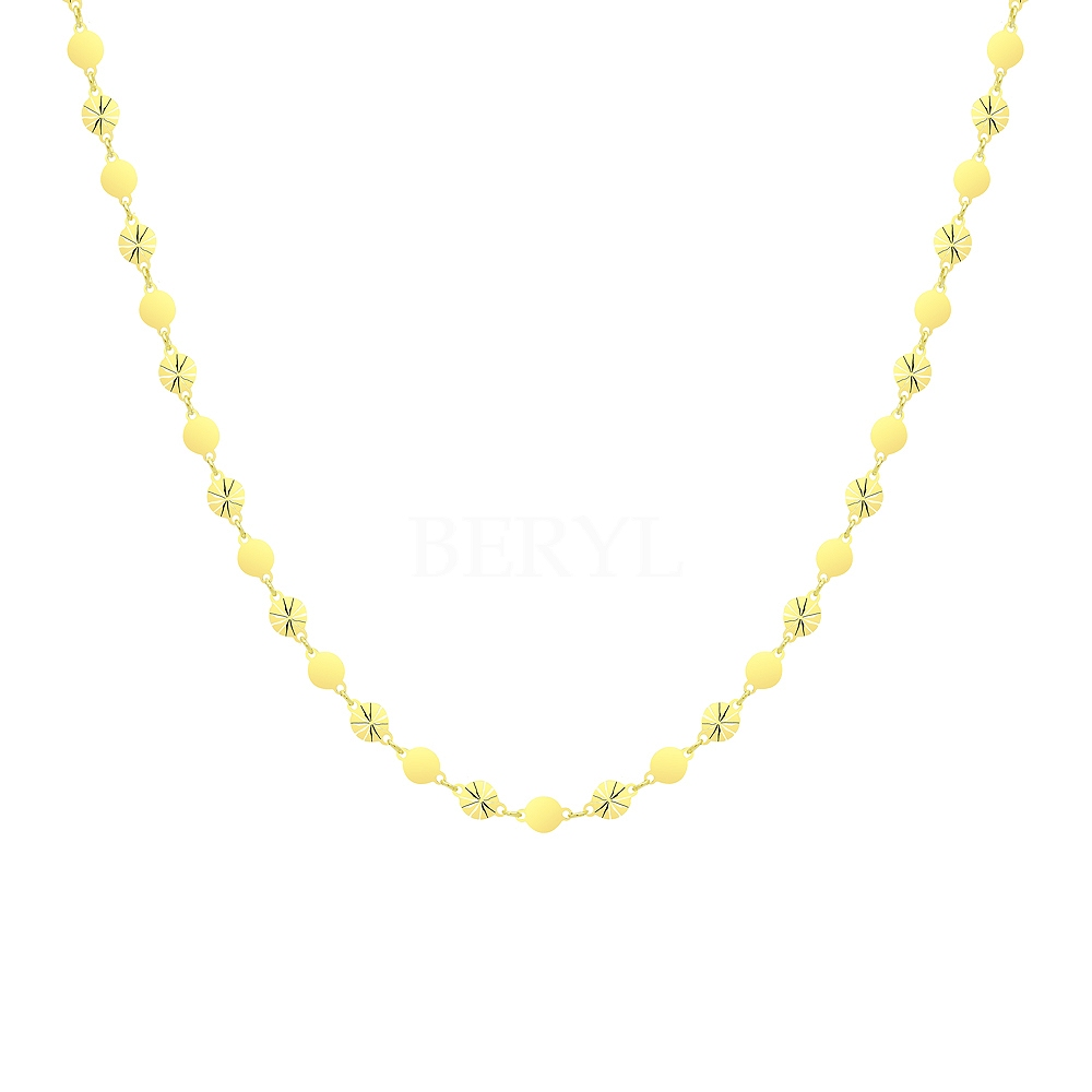 Naszyjnik Choker Krótki Błyszczące Gładkie Kółeczka Srebro 925 Pozłacany 24 karatowym złotem
