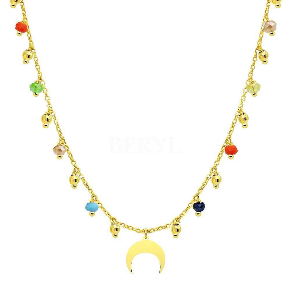Choker na szyję srebrny pozłacany księżyc z kolorowymi kryształkami