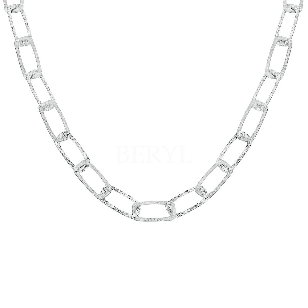 Naszyjnik łańcuch srebrny duże płaskie ogniwa