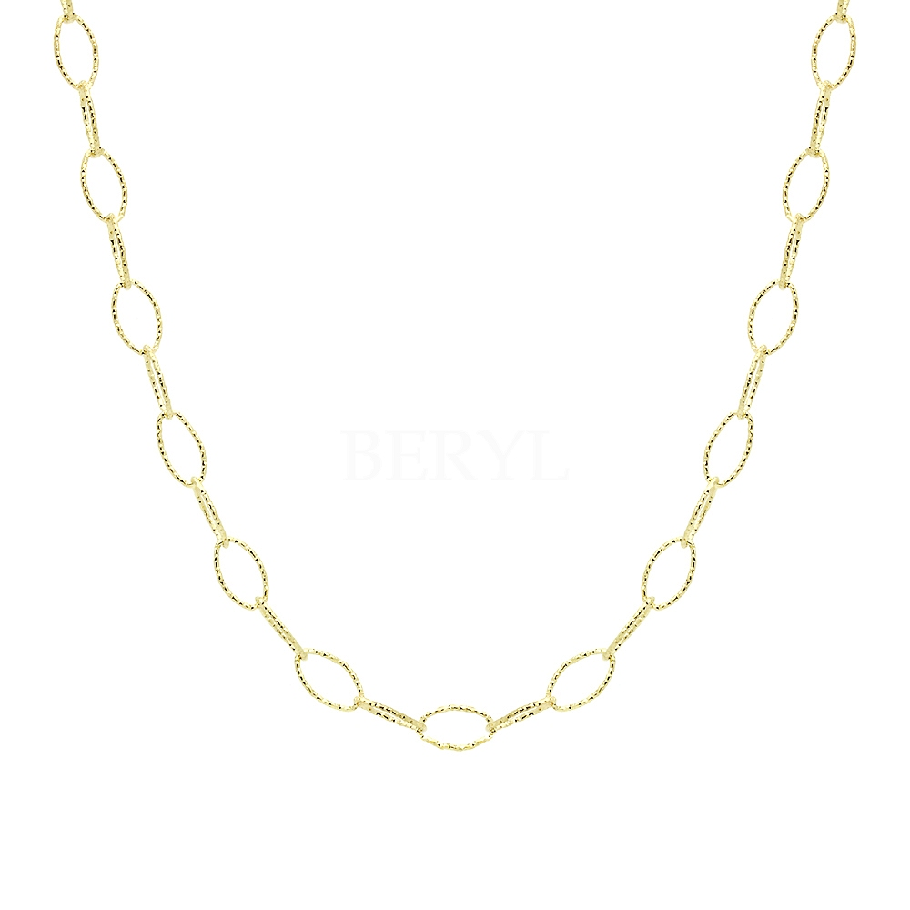 Naszyjnik łańcuch srebrny pozłacany owalne diamentowane ogniwa