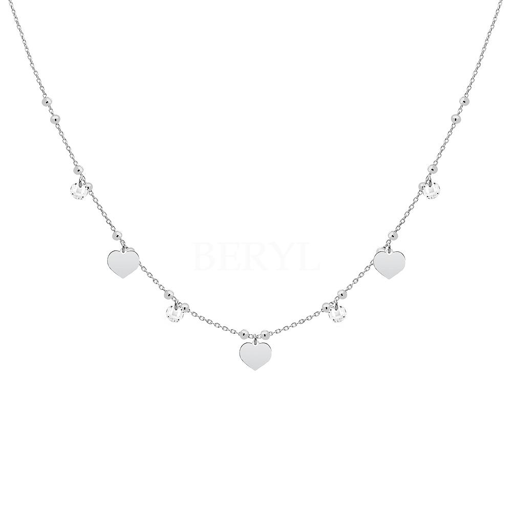 Choker na szyję srebrny z sercami i białymi kryształkami