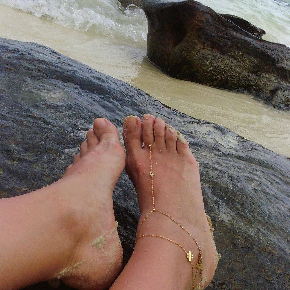 Bransoletka na nogę i palec srebrna pozłacana z gwiazdką