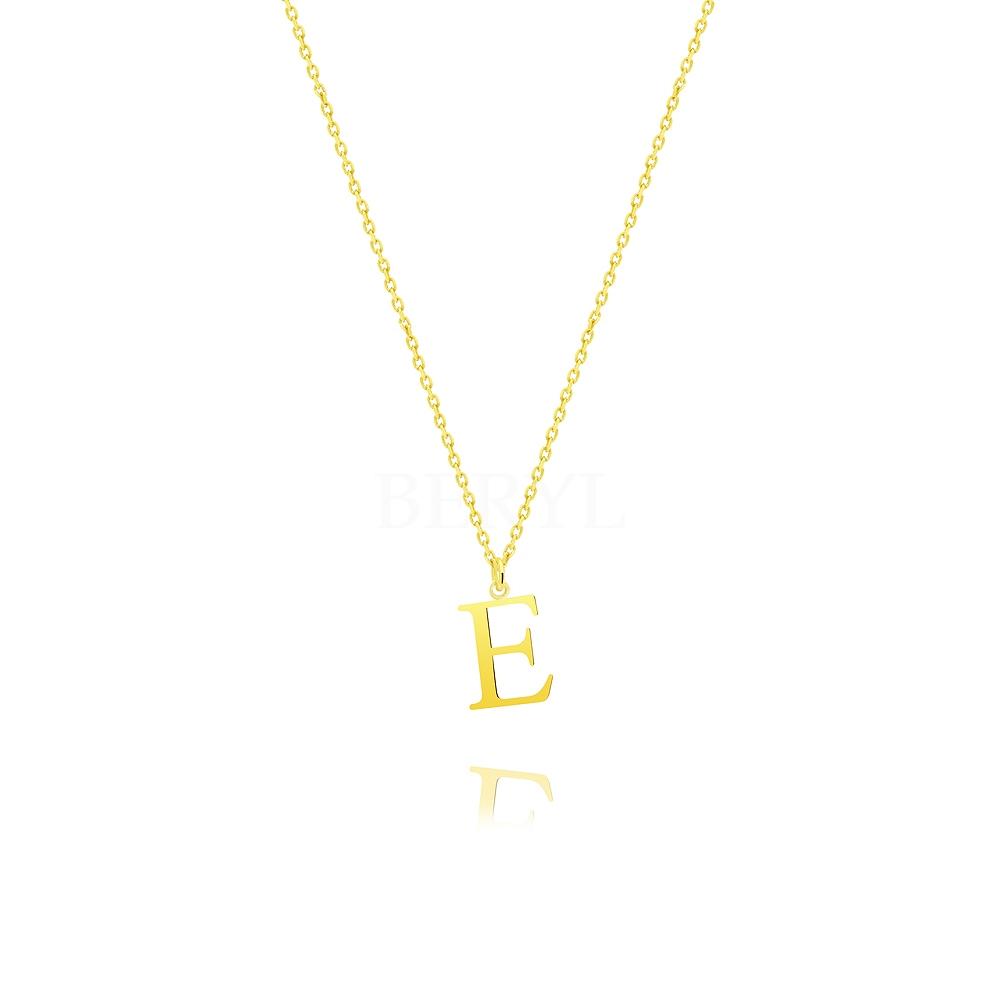 Naszyjnik z literką E srebrny pozłacany 1 cm