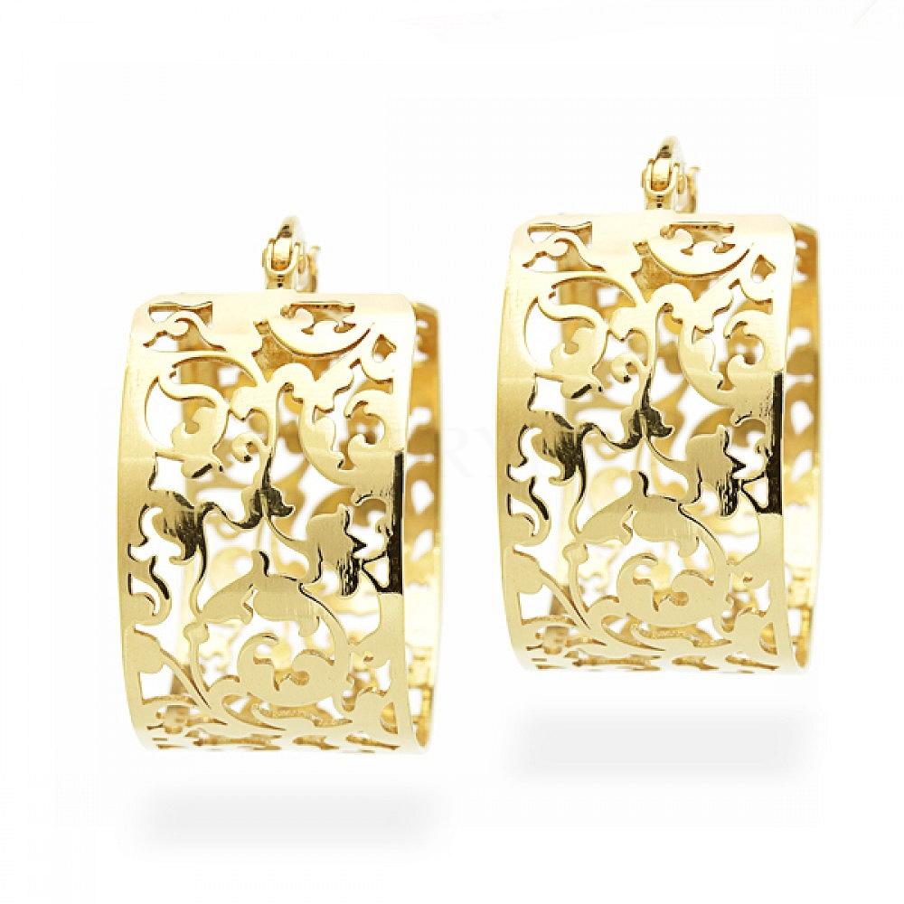 Kolczyki srebrne pozłacane przy uchu unikatowy wzór