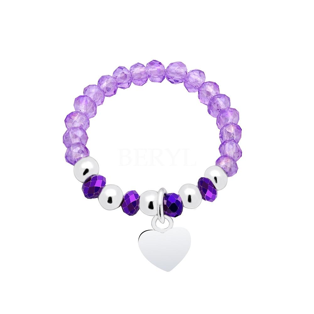 Pierścionek elastyczny srebrny fioletowe kryształki z serduszkiem