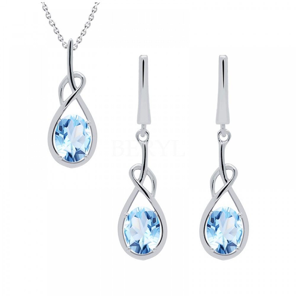 Komplet z niebieskimi topazami srebrny wiszący - kolczyki z zawieszką