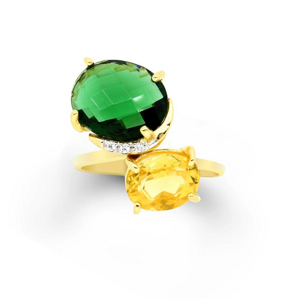Pierścionek srebrny z zieloną i żółtą cyrkonią