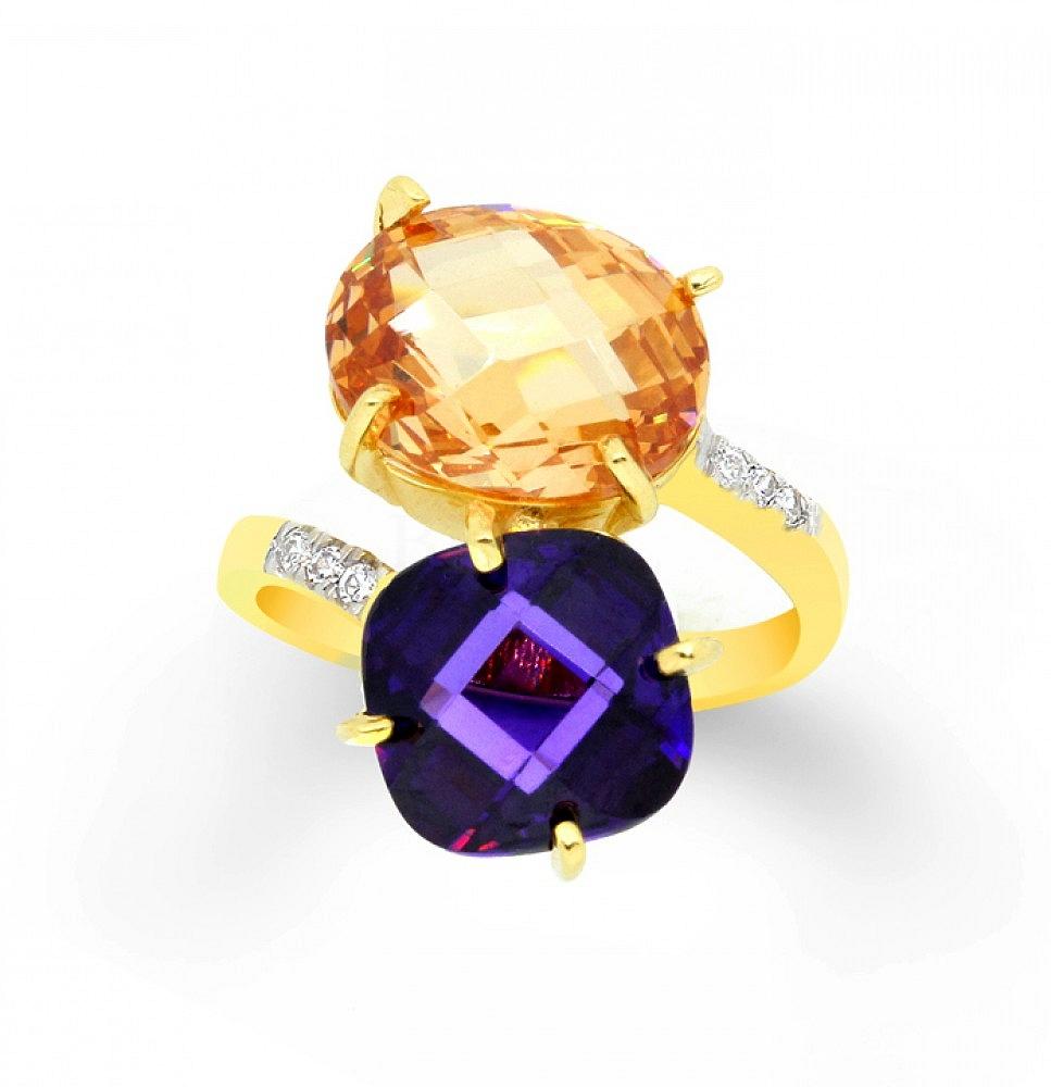 Pierścionek srebrny z pomarańczową i fioletową cyrkonią