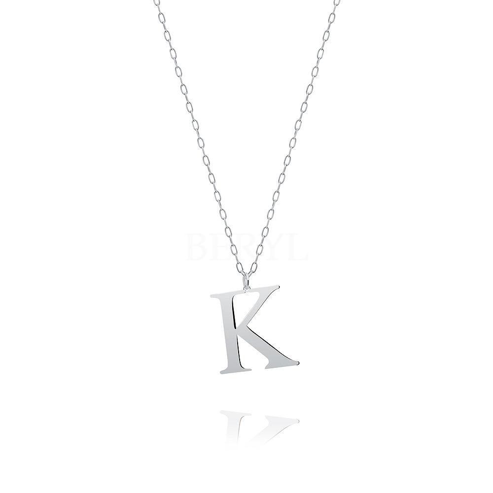 Naszyjnik z literką K srebrny 2 cm
