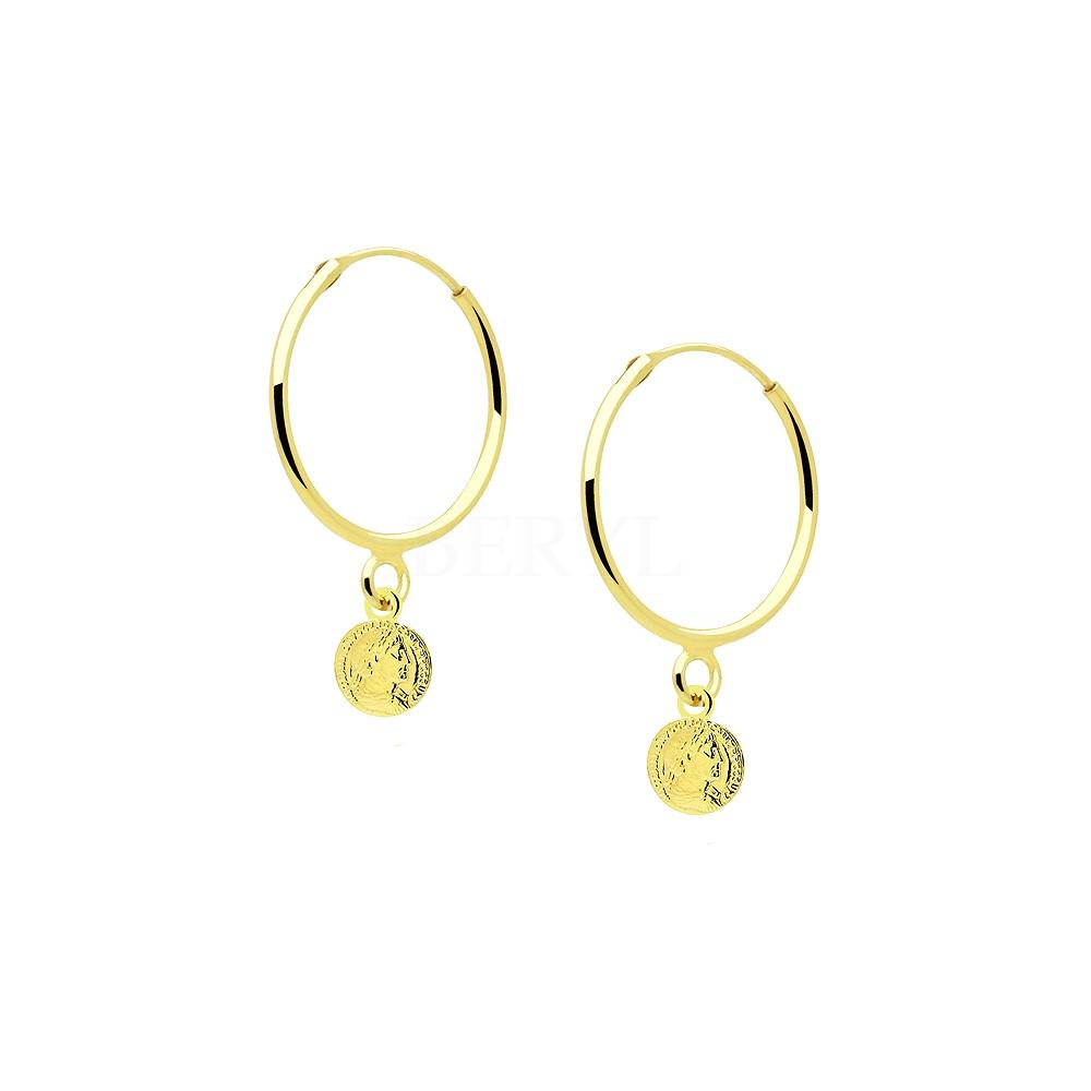 Kolczyki Koła z Monetami Srebro 925 Pozłacane 24 Karatowym Złotem
