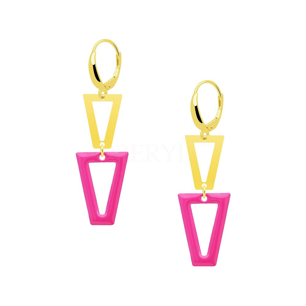Kolczyki srebrne pozłacane wiszące geometryczne z różową emalią