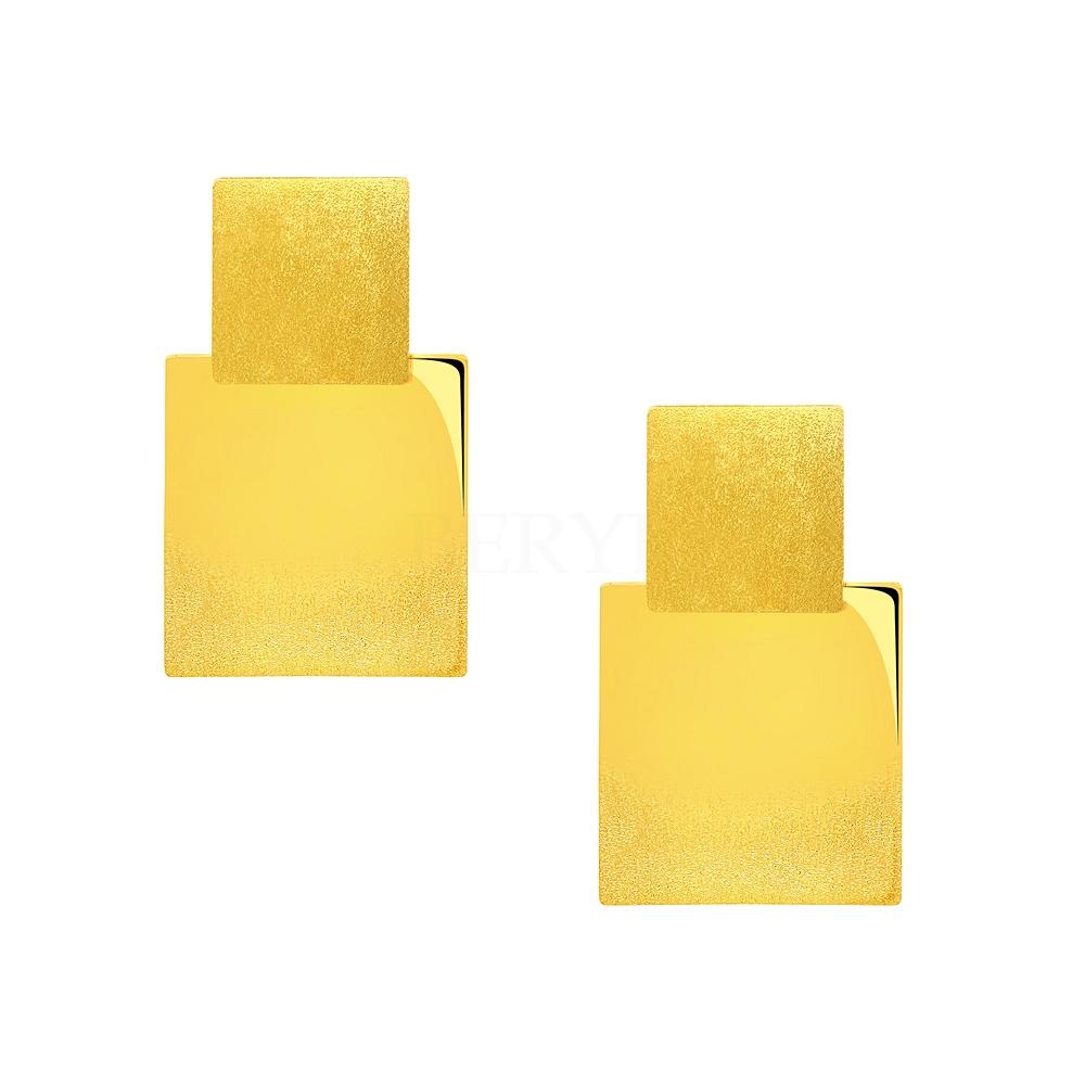 Kolczyki geometryczne srebrne pozłacane kwadraty