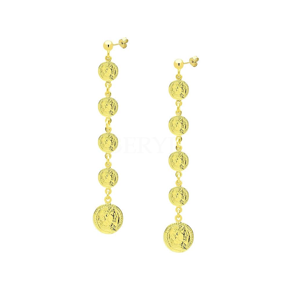 Kolczyki srebrne pozłacane wiszące długie z monetami