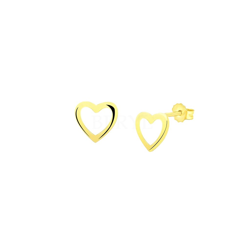 Kolczyki Złote Wkręty Serca