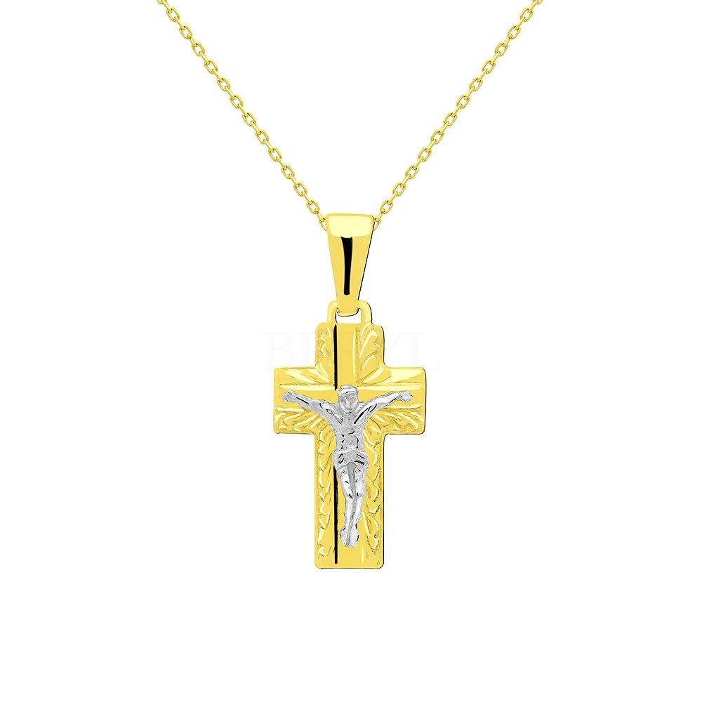 Krzyżyk złoty z Panem Jezusem zawieszka