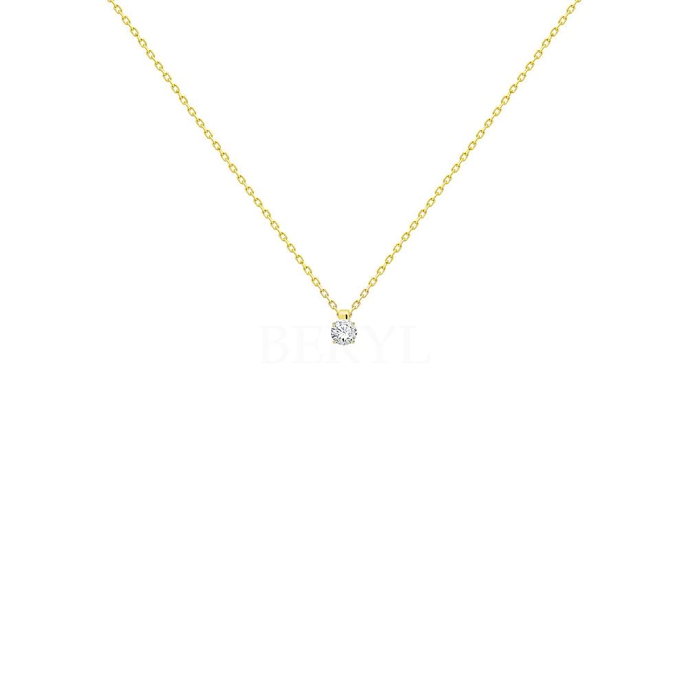 Naszyjnik złoty z białą cyrkonią