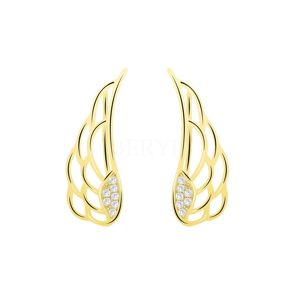 Nausznice srebrne pozłacane skrzydła z cyrkonią