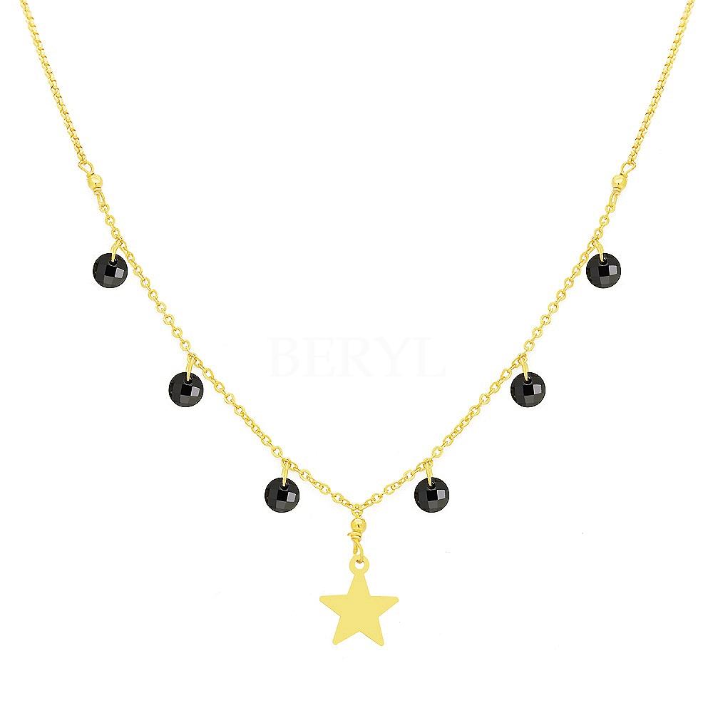Choker na szyję z gwiazdką i czarnymi kryształkami srebrny pozłacany
