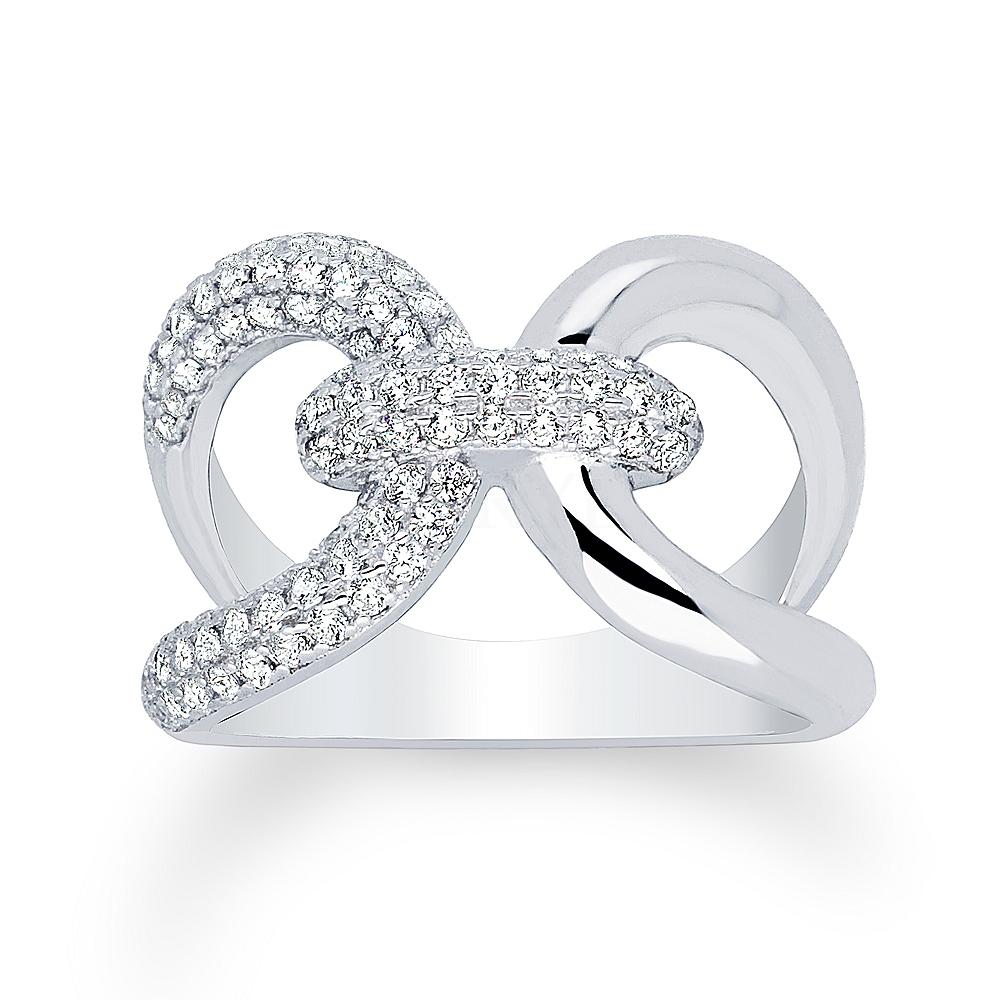Pierścionek łańcuch z cyrkoniami elegancki szeroki